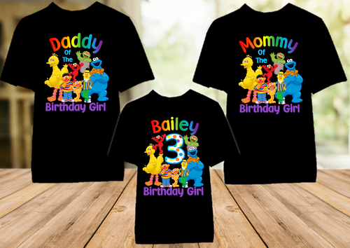 Sesame Street Birthday Party Personalized Color T Shirt - 3 Pack - SSC3P