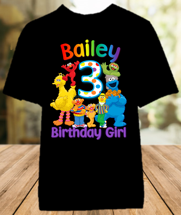 Sesame Street Birthday Party Personalized Color T Shirt - All Sizes - SSCS1