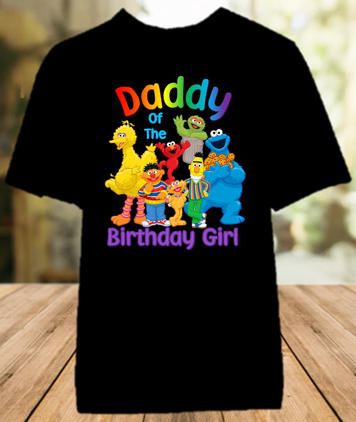 Sesame Street Birthday Party Personalized Dad Daddy Father Color T Shirt - All Sizes - SSDCS1
