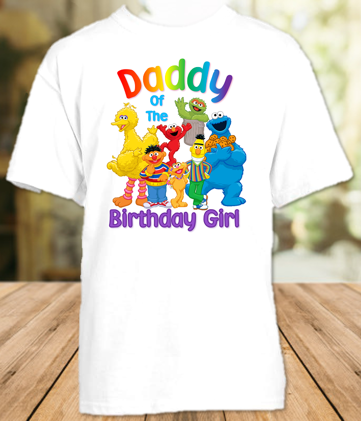 Sesame Street Birthday Party Personalized Dad Daddy Father T Shirt - All Sizes - SSDS1