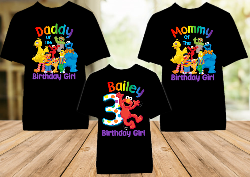 Sesame Street Elmo Birthday Party Personalized Color T Shirt - 3 Pack - SSEC3P