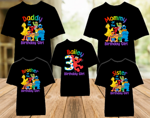 Sesame Street Elmo Birthday Party Personalized Color T Shirt - 5 Pack - SSEC5P
