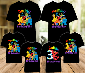 Sesame Street Elmo Birthday Party Personalized Color T Shirt - 6 Pack - SSEC6P