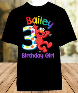 Sesame Street Elmo Birthday Party Personalized Color T Shirt - All Sizes - SSECS1