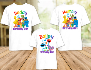 Sesame Street Abby Cookie Elmo Birthday Party Personalized T Shirt or Onesie - 3 Pack - SSACE3P