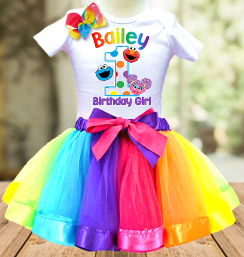Sesame Street Elmo, Abby and Cookie Birthday Party Personalized Ribbon Tutu Outfit - All Sizes - SSTO03