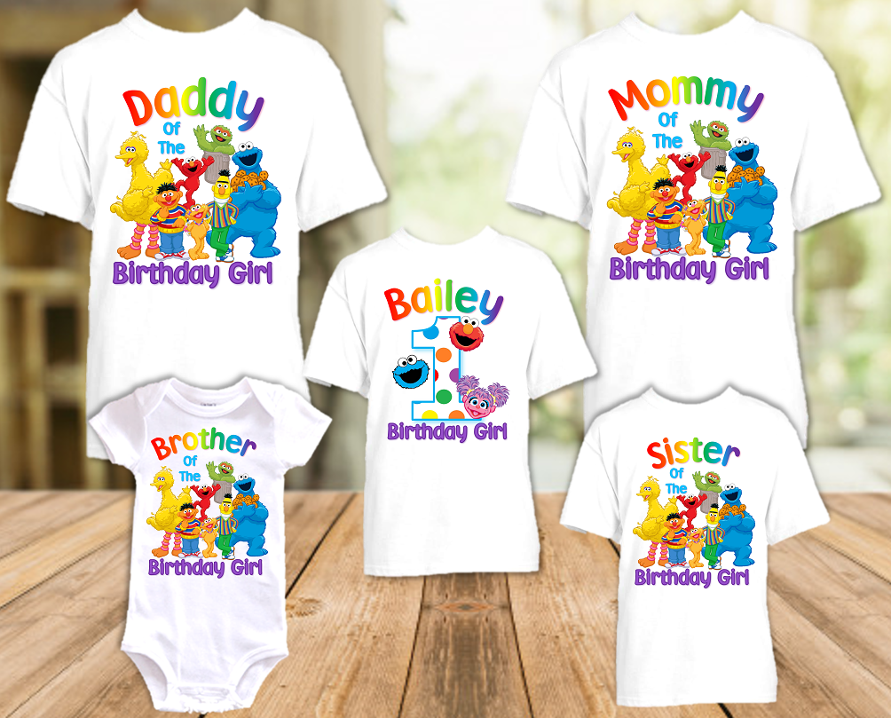 Sesame Street Abby Cookie Elmo Birthday Party Personalized T Shirt or Onesie - 5 Pack - SSACE5P