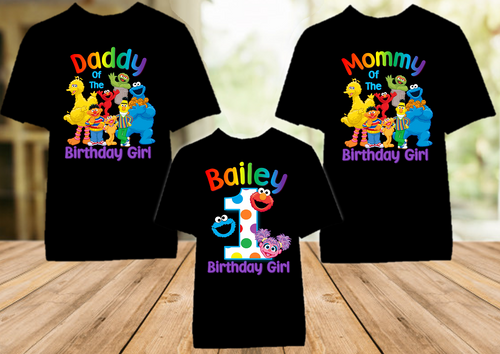 Sesame Street Abby Cookie Elmo Birthday Party Personalized Color T Shirt - 3 Pack - SSACEC3P
