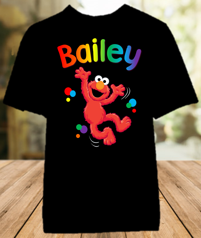 Sesame Street Elmo Party Personalized Color T Shirt - All Sizes - SSEPCS1