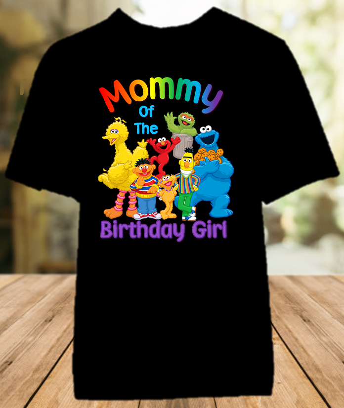 Sesame Street Birthday Party Personalized Mom Mommy Mother Color T Shirt - All Sizes - SSMCS1
