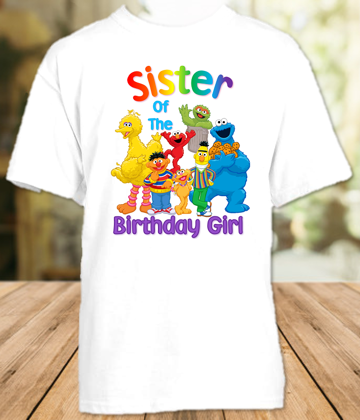 Sesame Street Birthday Party Personalized Sibling Sister T Shirt or Onesie - All Sizes - SSSS1