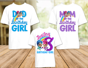 Shimmer and Shine Birthday Party Personalized T Shirt or Onesie - 3 Pack - SG3P