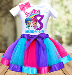 Shimmer and Shine Genie Birthday Party Personalized Ribbon Tutu Outfit - All Sizes - SGTO01