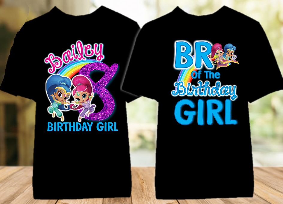 Shimmer and Shine Birthday Party Personalized Color T Shirt - 2 Pack - SGC2P