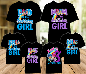 Shimmer and Shine Birthday Party Personalized Color T Shirt - 6 Pack - SGC6P
