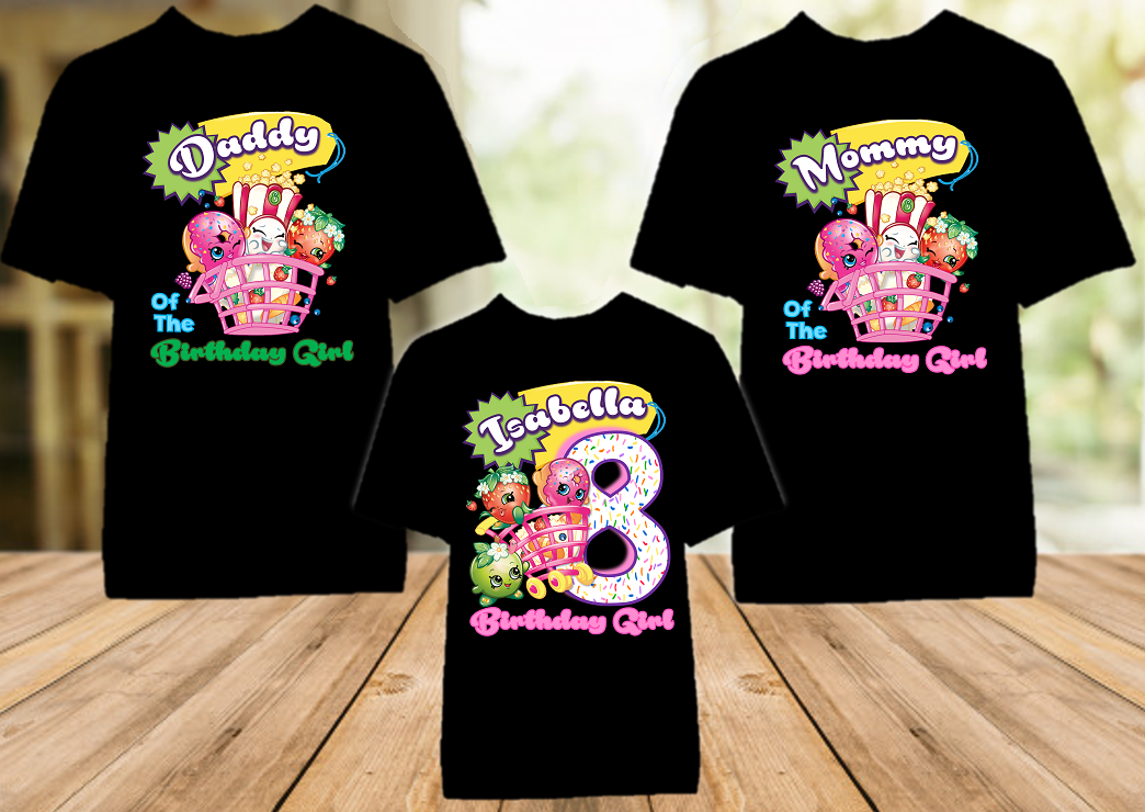 Shopkins Birthday Party Personalized Color T Shirt - 3 Pack - SHOC3P