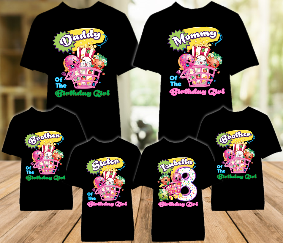 Shopkins Birthday Party Personalized Color T Shirt - 6 Pack - SHOC6P