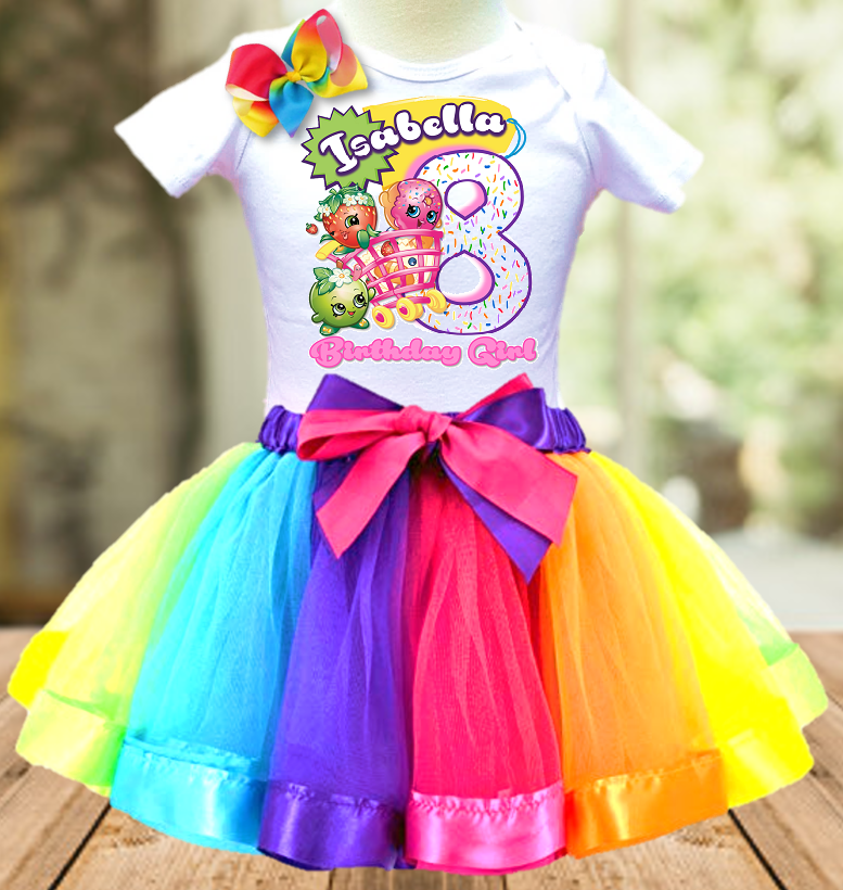 Shopkins Birthday Party Personalized Ribbon Tutu Outfit - All Sizes - SKTO01