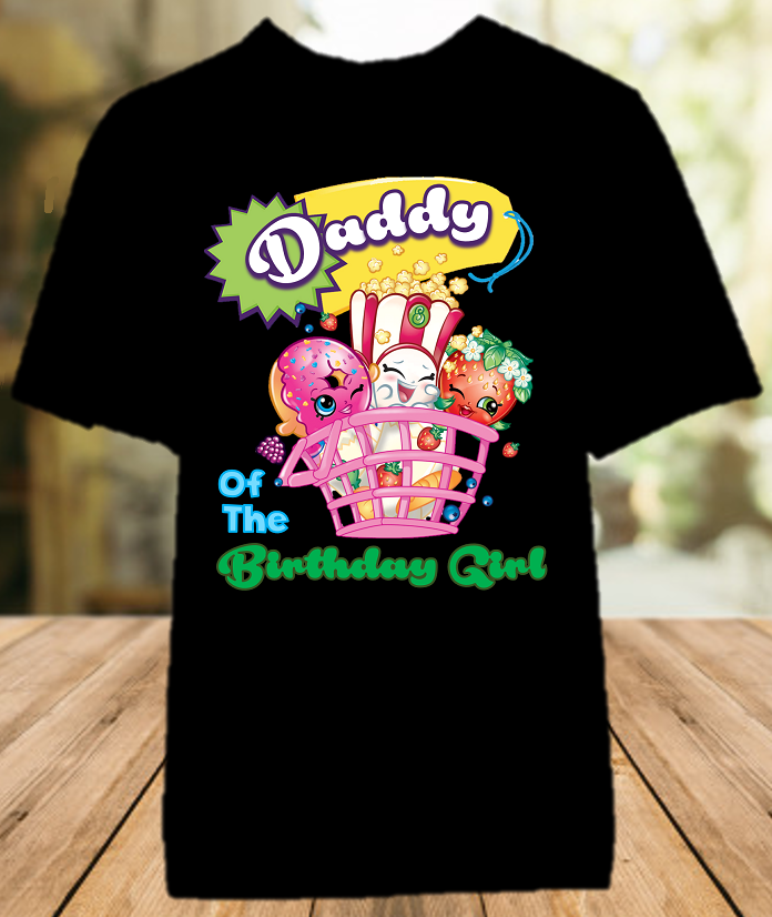 Shopkins Birthday Party Personalized Dad Daddy Father Color T Shirt - All Sizes - SHODCS1
