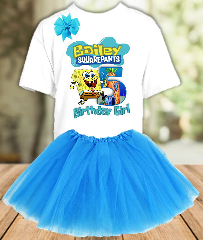 SpongeBob SquarePants Birthday Party Personalized Layer Tutu Outfit - All Sizes - SBTO01A