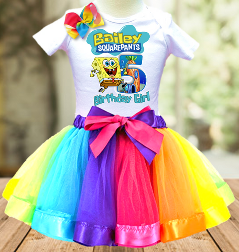 SpongeBob SquarePants Birthday Party Personalized Ribbon Tutu Outfit - All Sizes - SBTO01
