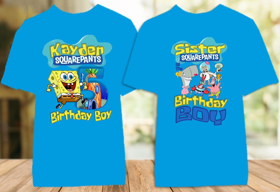 SpongeBob SquarePants Birthday Party Personalized Color T Shirt - 2 Pack - SBC2P