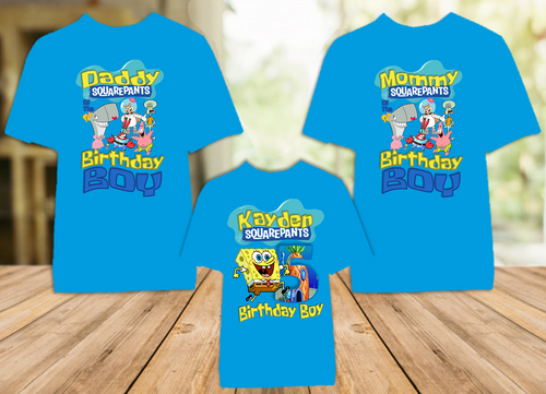 SpongeBob SquarePants Birthday Party Personalized Color T Shirt - 3 Pack - SBC3P