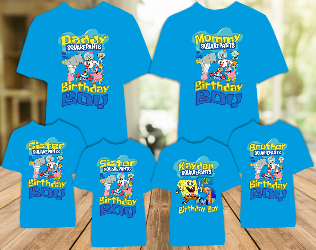 SpongeBob SquarePants Birthday Party Personalized Color T Shirt - 6 Pack - SBC6P