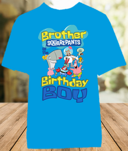 SpongeBob SquarePants Birthday Party Personalized Brother Color T Shirt - All Sizes - SBBCS1