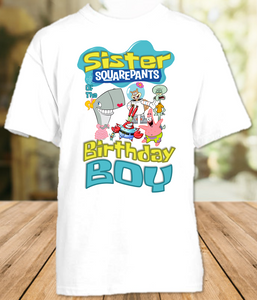 SpongeBob SquarePants Birthday Party Personalized Sister T Shirt or Onesie - All Sizes - SBSS1