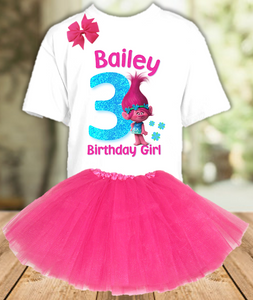 Trolls Poppy Troll Birthday Party Personalized Layer Tutu Outfit - All Sizes - TPTO01A