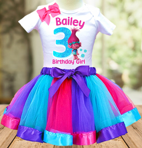 Trolls Poppy Troll Birthday Party Personalized Ribbon Tutu Outfit - All Sizes - TPTO01