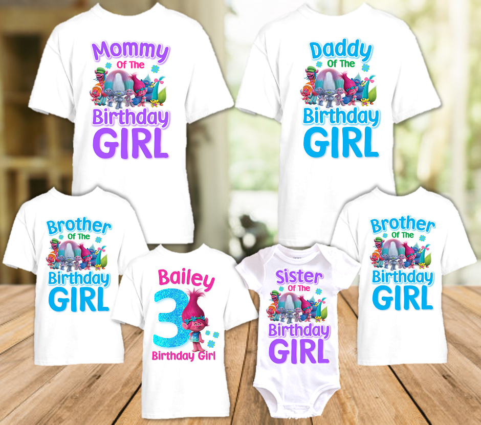 Trolls Poppy Birthday Party Personalized T Shirt or Onesie - 6 Pack - TP6P