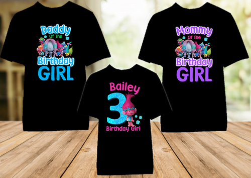 Trolls Poppy Birthday Party Personalized Color T Shirt - 3 Pack - TPC3P