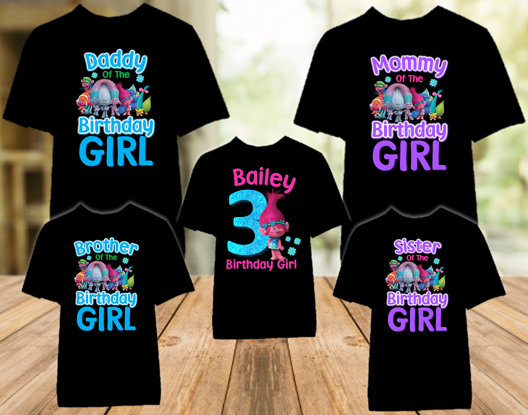 Trolls Poppy Birthday Party Personalized Color T Shirt - 5 Pack - TPC5P