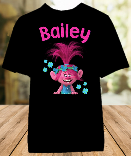 Trolls Poppy Party Personalized Color T Shirt - All Sizes - TPPCS1
