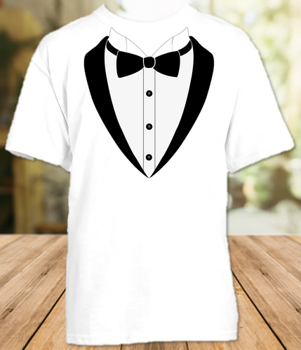 Tuxedo Tux Bow Tie White T Shirt or Onesie - All Sizes Available - TUXS1