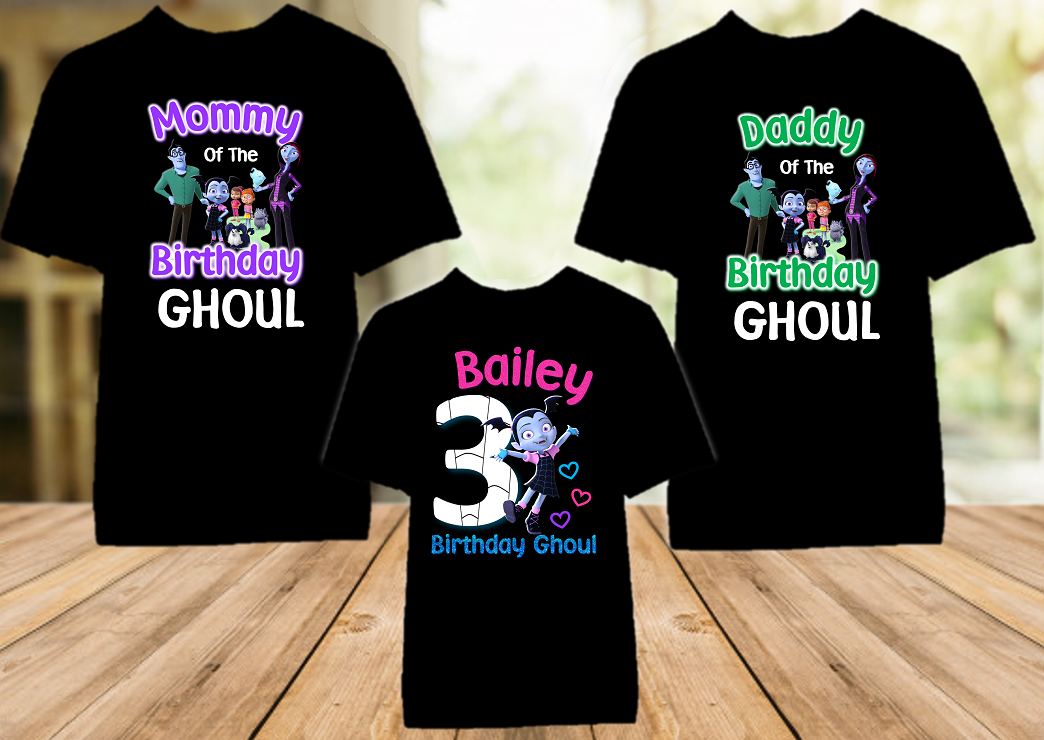 Vampirina Birthday Party Personalized Color T Shirt - 3 Pack - VC3P