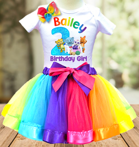 Word Party Birthday Party Personalized Ribbon Tutu Outfit - All Sizes - WPTO01