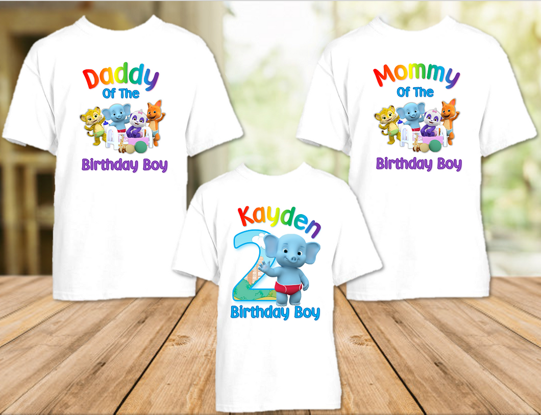 Word Party Bailey Elephant Birthday Party Personalized T Shirt or Onesie - 3 Pack - WPB3P