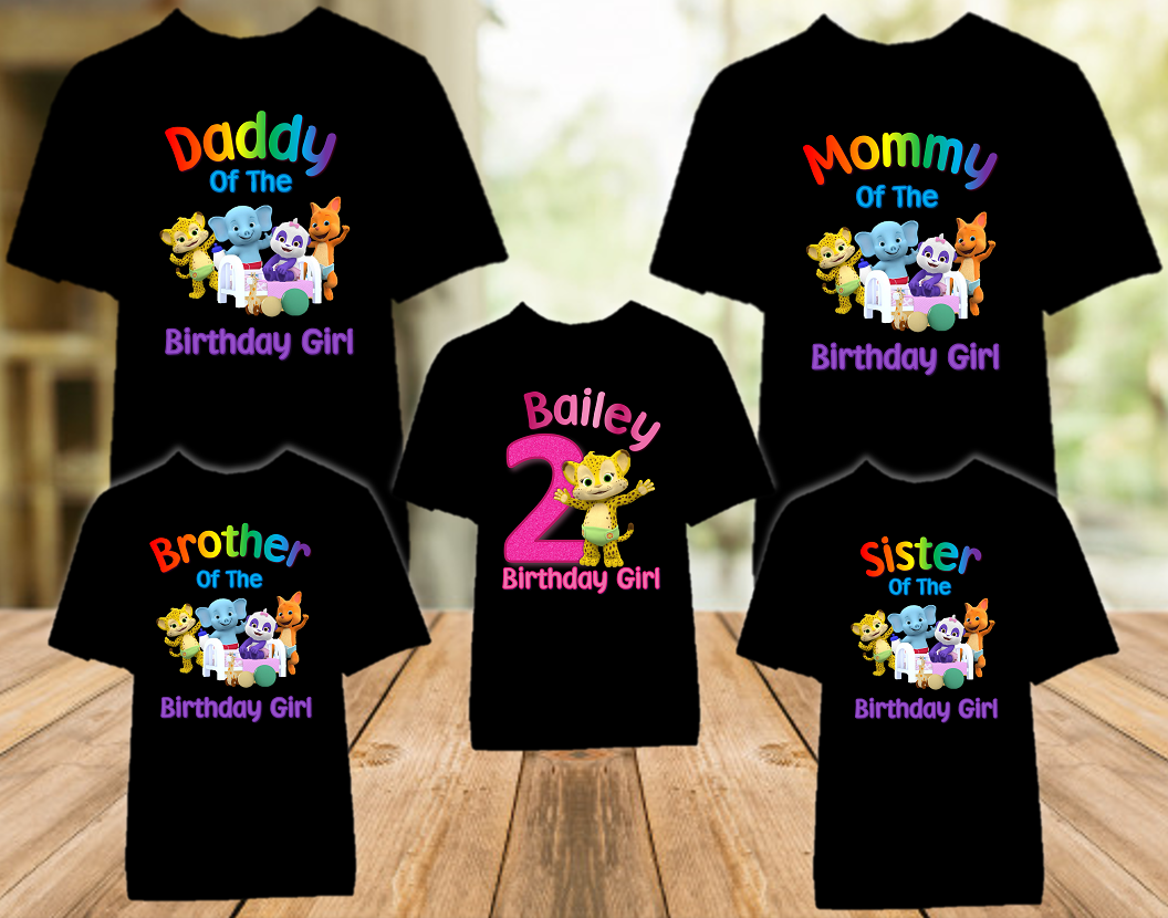 Word Party Franny Cheetah Birthday Party Personalized Color T Shirt - 5 Pack - WPFC5P