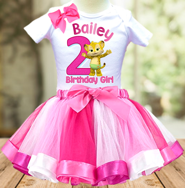 Word Party Franny Cheetah Birthday Party Personalized Ribbon Tutu Outfit - All Sizes - WPFTO01