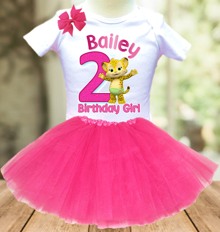 Word Party Franny Cheetah Birthday Party Personalized Layer Tutu Outfit - All Sizes - WPFTO02