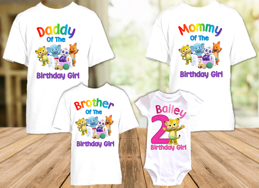 Word Party Franny Cheetah Birthday Party Personalized T Shirt or Onesie - 4 Pack - WPF4P