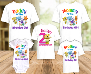 Word Party Franny Cheetah Birthday Party Personalized T Shirt or Onesie - 5 Pack - WPF5P