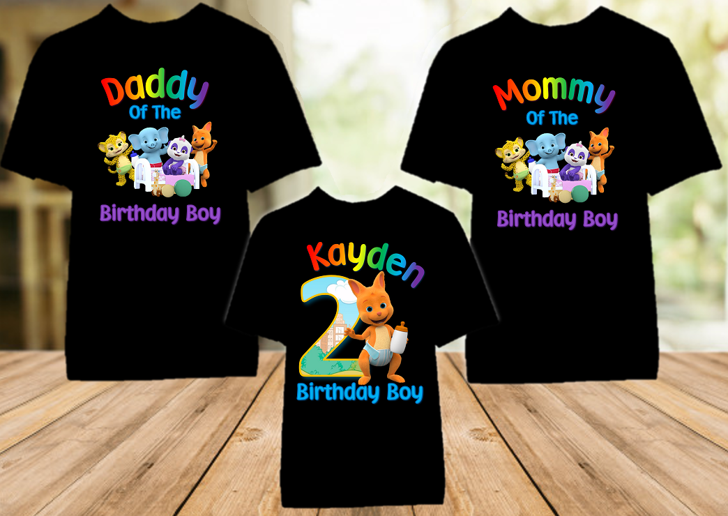 Word Party Kip Wallaby Birthday Party Personalized Color T Shirt - 3 Pack - WPKC3P
