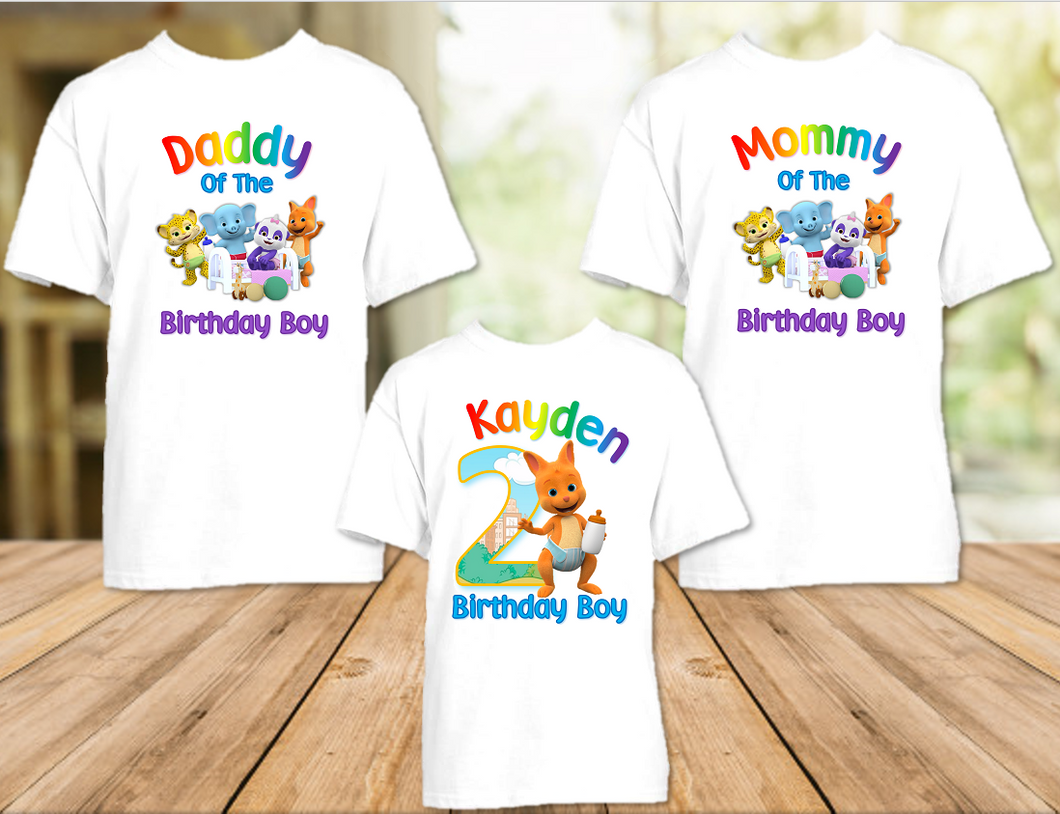 Word Party Kip Wallaby Birthday Party Personalized T Shirt or Onesie - 3 Pack - WPK3P