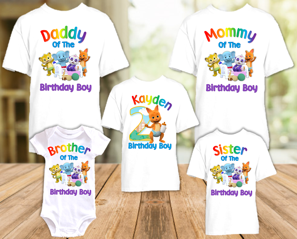 Word Party Kip Wallaby Birthday Party Personalized T Shirt or Onesie - 5 Pack - WPK5P