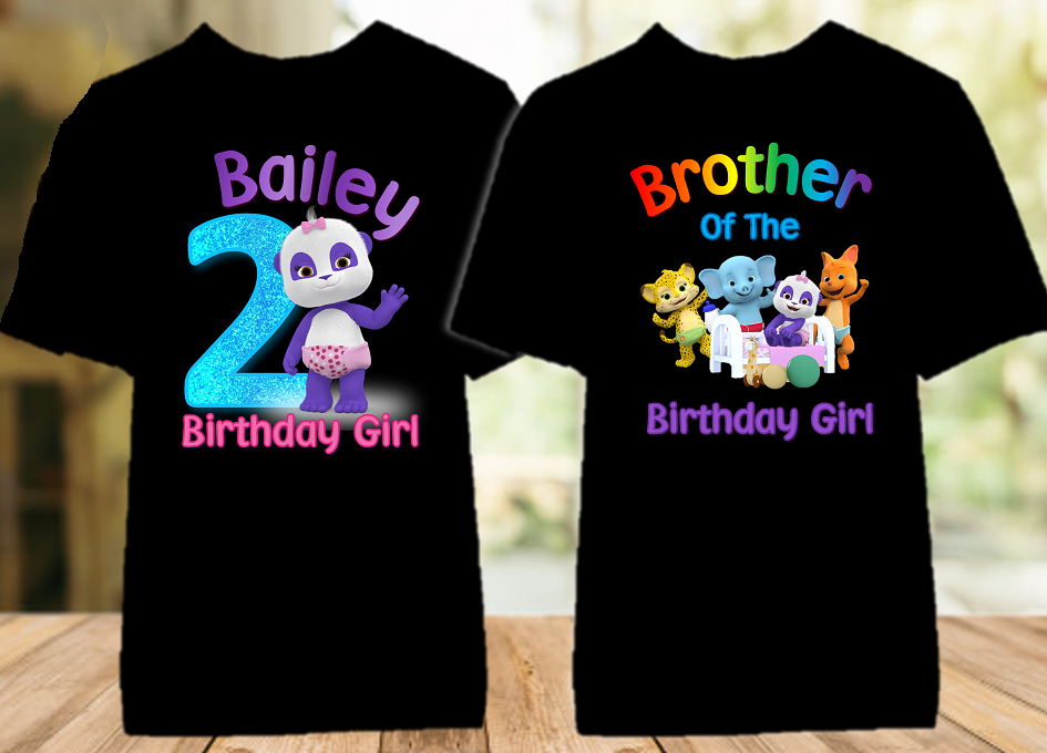 Word Party Lulu Panda Birthday Party Personalized Color T Shirt - 2 Pack - WPLC2P