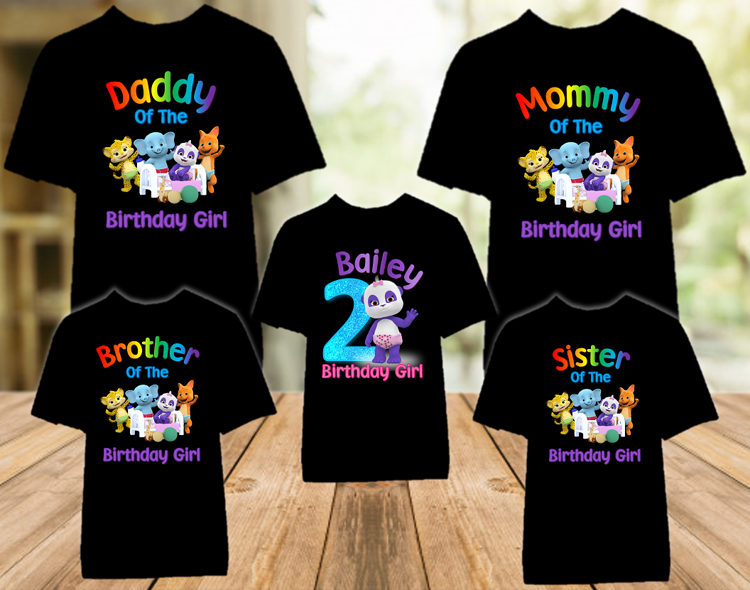 Word Party Lulu Panda Birthday Party Personalized Color T Shirt - 5 Pack - WPLC5P
